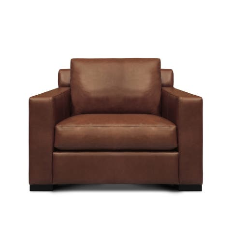 Santiago 100% Top Grain Leather Mid-century Armchair, Russet Brown