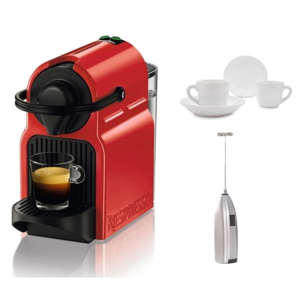 Breville Inissia Espresso Machine (Red) with Frother and Espresso Cups. Opens flyout.