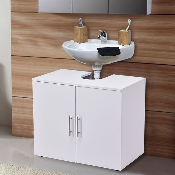 shop costway non pedestal under sink bathroom storage vanity cabinet space saver organizer. Black Bedroom Furniture Sets. Home Design Ideas