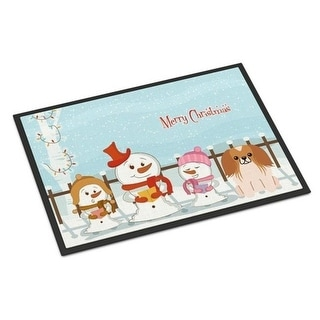 Carolines Treasures BB2434MAT Merry Christmas Carolers Pekingnese Red White Indoor or Outdoor Mat 18 x 0.25 x 27 in.