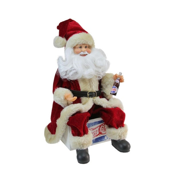 "12"" Santa Claus Sitting on Vintage Pepsi-Cola Crate Christmas Figure - RED"