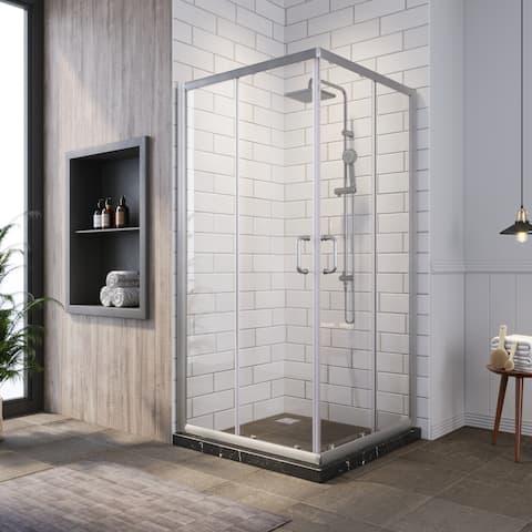 ELEGANT 36 x 36 x 72 Corner Sliding Shower Enclosure Door