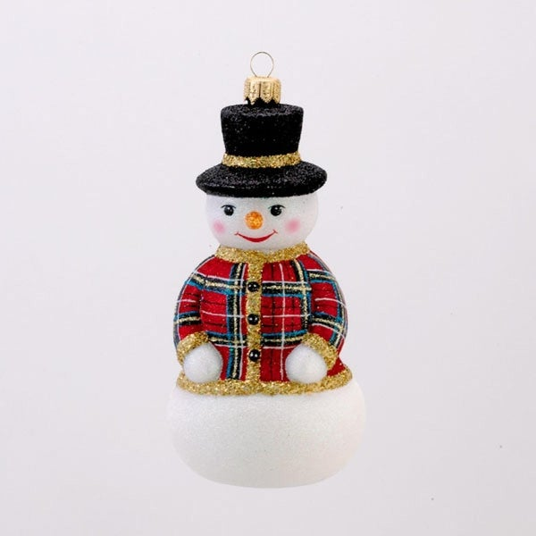 David Strand Designs Glass New Sweater Stewart Plaid Snowman Christmas Ornament