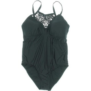 Athena Womens Crochet Front Solid One-Piece Swimsuit