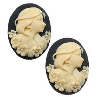 Lucite Oval Cameo - Black With Ivory Lady And Flowers 25x18mm (2 Pieces)