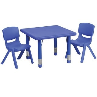 Offex 24'' Square Adjustable Blue Plastic Activity Table Set with 2 School Stack Chairs