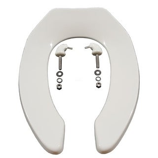 Zurn Z5955SS-EL Elongated, Standard White, Open Front Toilet Seat, Less Cover, with Stainless Steel Check Hinge