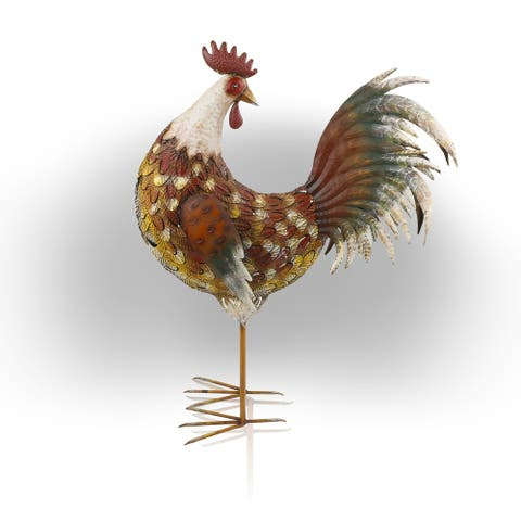 Alpine 32-Inch Brown Patterned Rooster Décor Indoor/Outdoor Statue