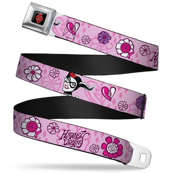 Harley Quinn Diamond Full Color Black Red Harley Quinn Face Flower Collage Seatbelt Belt