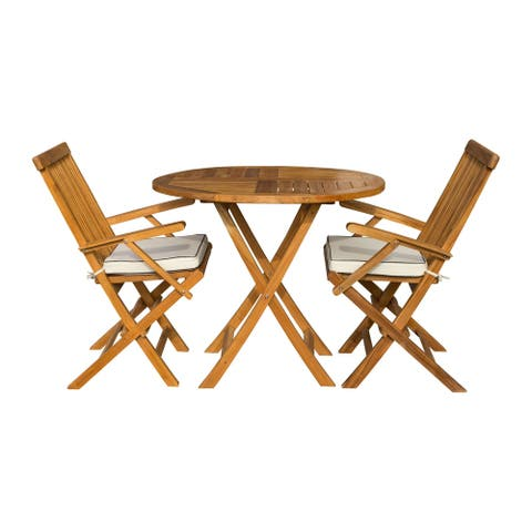 "Seven Seas Teak 3 Piece Teak Wood Valencia Patio Bistro Dining Set, 36"" Round Folding Table with 2 Folding Arm Chairs"
