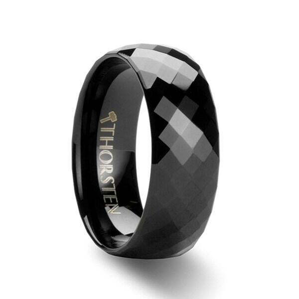 THORSTEN - AEON 288 Diamond Faceted Black Tungsten Carbide Band