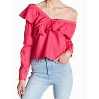 Love Fire Pink Womens Size XL Off Shoulder Ruffle Trim Blouse
