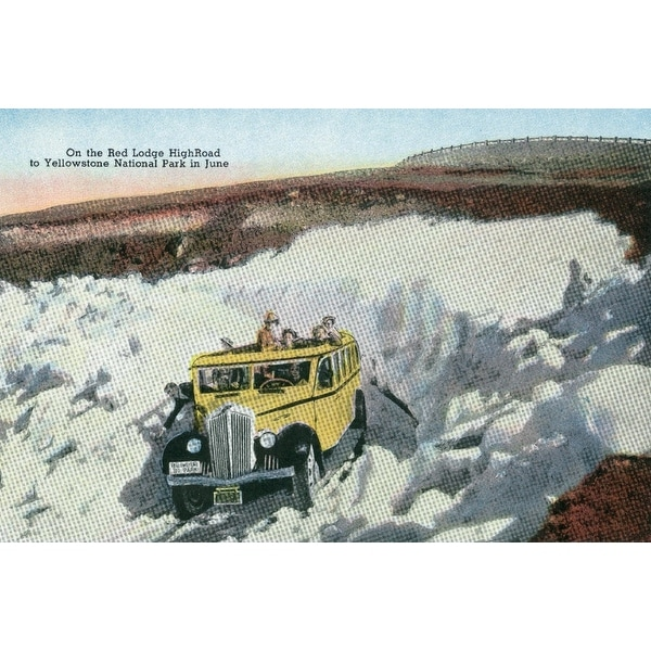 Shop Montana Tourists Driving Through Snow On The Red Lodge High Road To Yellowstone Art Print Multiple Sizes Available On Sale Overstock 27903300
