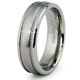 6.0mm Millgrain Satin Finish Titanium Ring (Sizes 7-12)