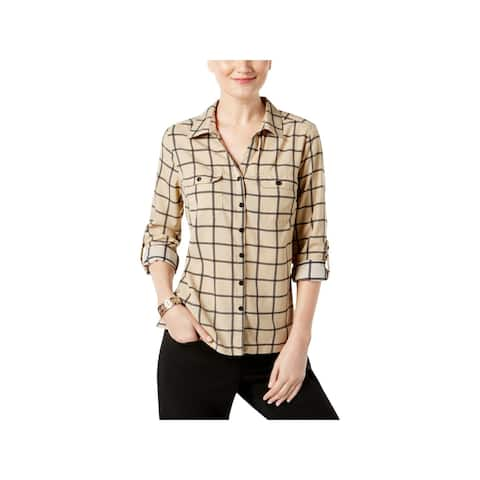 NY Collection Womens Petites Blouse Long Sleeves Plaid