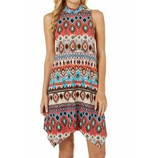 Bailey NEW Orange Womens Size Large L Tribal Print Mock-Neck Shift Dress