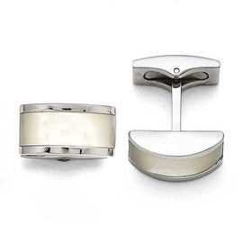 Chisel Stainless Steel Polished Cat's Eye Cuff Links