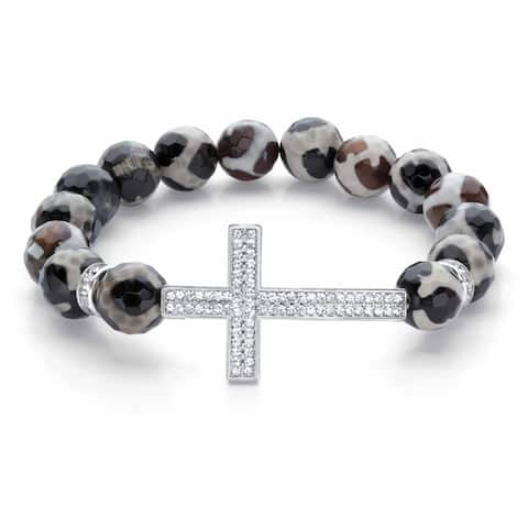 Silvertone Crystal Horizontal Cross Black and White Strand Bracelet