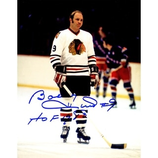 Bobby Hull Signed Blackhawks Standing On Ice 8x10 Photo w/HOF 1983