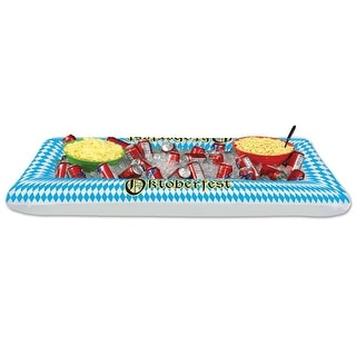 """Pack of 6 Inflatable Blue and White Harlequin Patterned Oktoberfest Buffet Coolers 53.75"""""""