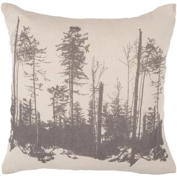 """18"""" Charcoal Gray and Parchment Forest Silhouette Decorative Down Throw Pillow"""