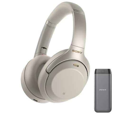 Sony WH1000XM3 Noise Canceling Headphones (Silver) & USB-C Power Bank
