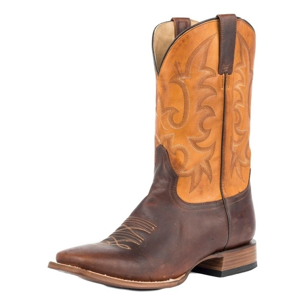 """Stetson Western Boots Mens 11"""" Square Toe Brown"""