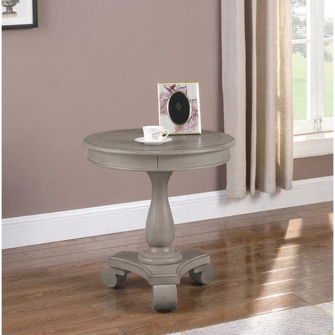 Best Master Furniture Y106 Wood Round Pedestal End Table