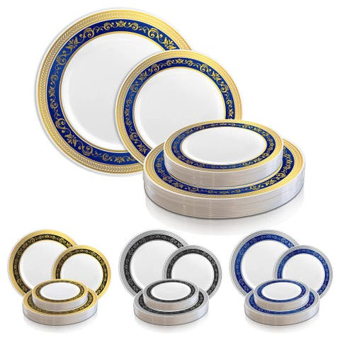 Shiny Royal Rim Disposable Plastic Plate Packs - Party Supplies