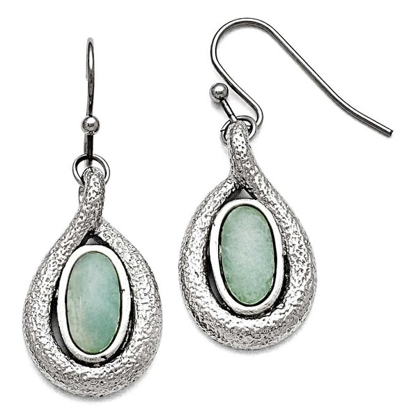 Chisel Stainless Steel Polished and Textured Synthetic Green Calcedony Earrings