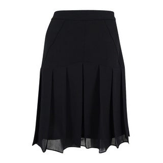 Kasper Women's Petite Mix-Media Pleated Chiffon Skirt