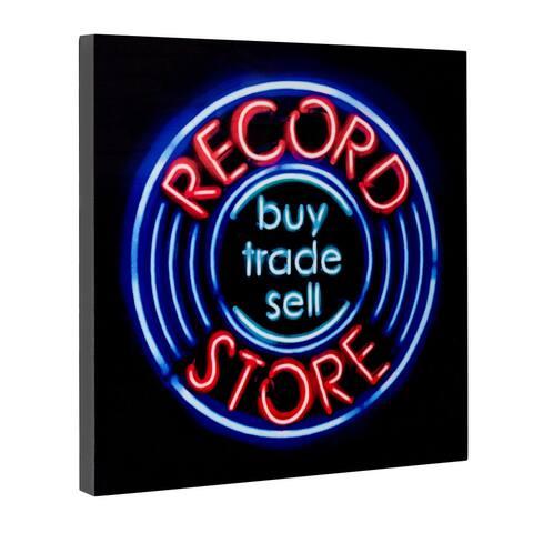 "Record Store Buy Sell Trade Neon Wall Art Decor (20"" x 20"")"
