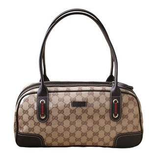 "Gucci Crystal GG Princy Brown Boston Bag 293594 - Brown/Beige - 13.5"" l x 6.5"" h x 5"" w"