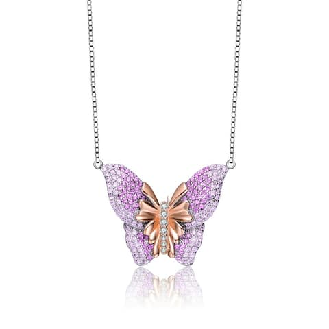 Collette Z High Quality Sterling Silver with Rose Gold Plated Cubic Zirconia Butterfly Necklace