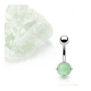 Stainless Steel Prong-Set Jade Semi Precious Stone Navel Belly Button Ring
