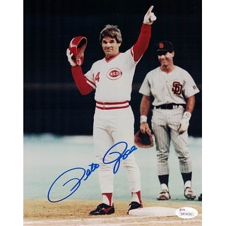 Pete Rose Autographed Cincinnati Reds 8x10 Photo JSA