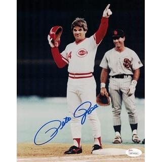 Pete Rose Autographed Cincinnati Reds 8x10 Photo JSA