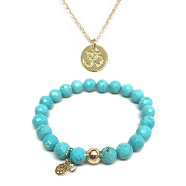 "Turquoise Magnesite 7"" Bracelet & Om Gold Charm Necklace Set"