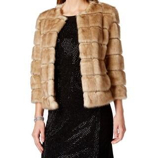 Tahari By ASL NEW Beige Women's Size XL Faux Fur Open Front Jacket