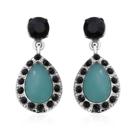Amazonite Glass Stone Black Crystal Dangle Earrings Stainless Steel