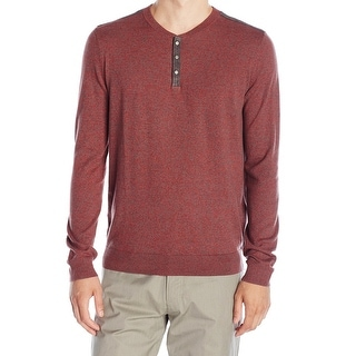 Calvin Klein NEW Red Twist Mens Size XL Ribbed Henley Knit Sweater