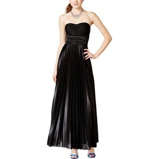 Speechless Womens Juniors Evening Dress Pleated Lace