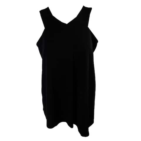 Alfani Black Single Pleat Front Sleeveless Top M