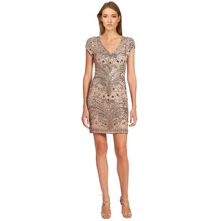 Parker Bead Embellished Cap Sleeve V-Neck Sheath Cocktail Dress