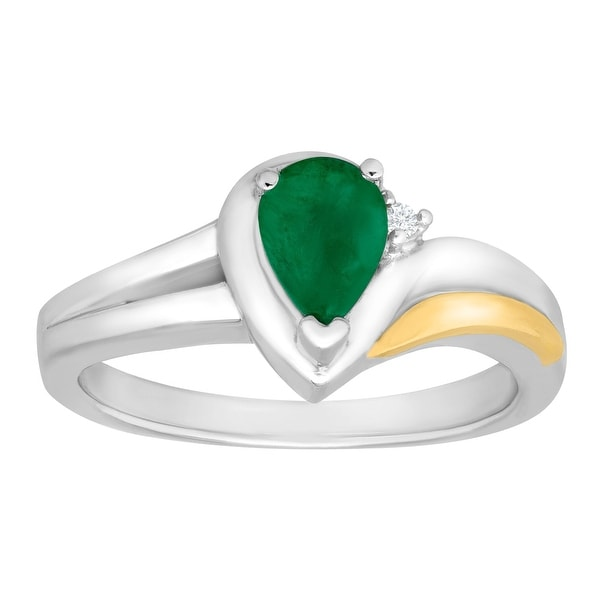 3/4 ct Emerald Ring with Diamond in Sterling Silver and 14K Gold - Green