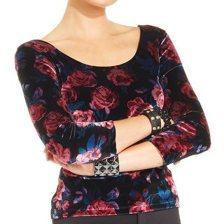 Material Girl Womens Juniors Crop Top Velour Floral Print - XS
