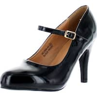 Bella Marie Helena-43 Women's Round Toe High Heel Mary Jane Squeaky Buckle Strap Patent Pumps Shoes - Black - 8.5 b(m) us