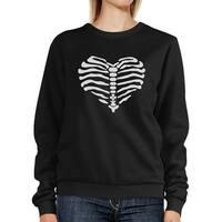 Skeleton Heart Halloween Sweatshirt Black Crew Neck Pullover Unisex
