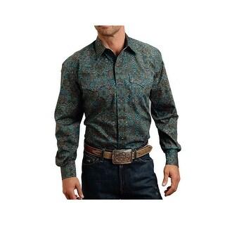 Stetson Western Shirt Mens Long Sleeve Green 11-001-0425-0156 GR