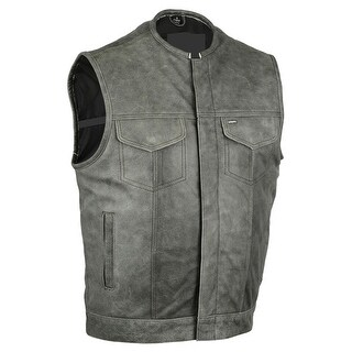 Concealed Snaps Premium Naked Cowhide Hidden Zipper Vest